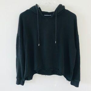 Brandy Melville Hooded Cropped Sweatshirt Black OS